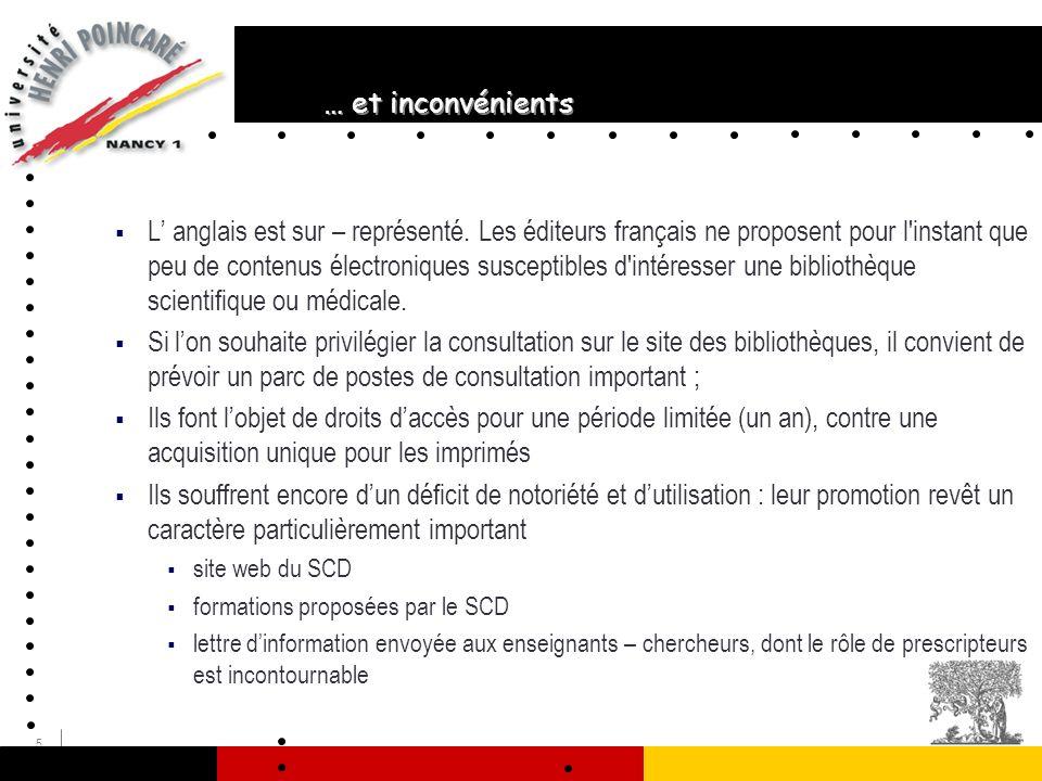 5 … et inconvénients L anglais est sur – représenté. Les éditeurs français ne proposent pour l'instant que peu de contenus électroniques susceptibles