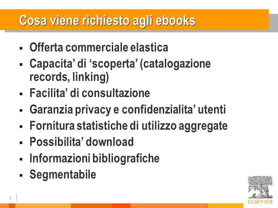 6 Cosa viene richiesto agli ebooks Offerta commerciale elastica Capacita di scoperta (catalogazione records, linking) Facilita di consultazione Garanz