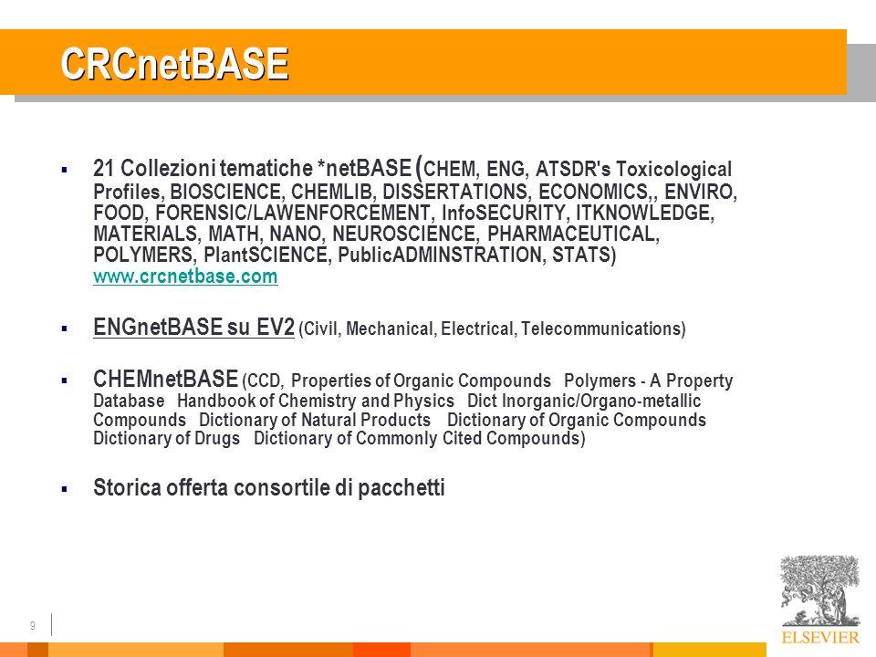 9 CRCnetBASE 21 Collezioni tematiche *netBASE ( CHEM, ENG, ATSDR's Toxicological Profiles, BIOSCIENCE, CHEMLIB, DISSERTATIONS, ECONOMICS,, ENVIRO, FOO
