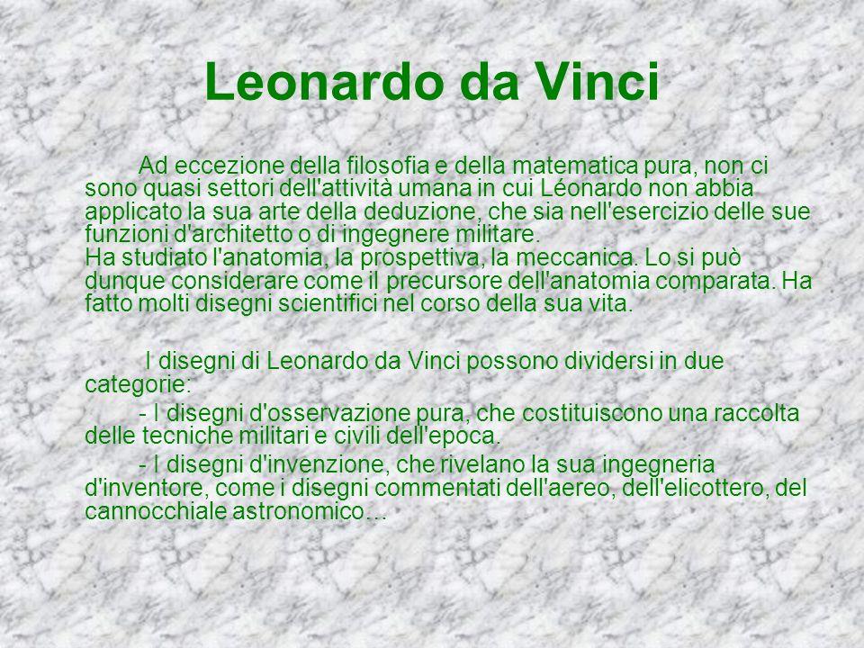 Leonardo da Vinci Ad eccezione della filosofia e della matematica pura, non ci sono quasi settori dell'attività umana in cui Léonardo non abbia applic