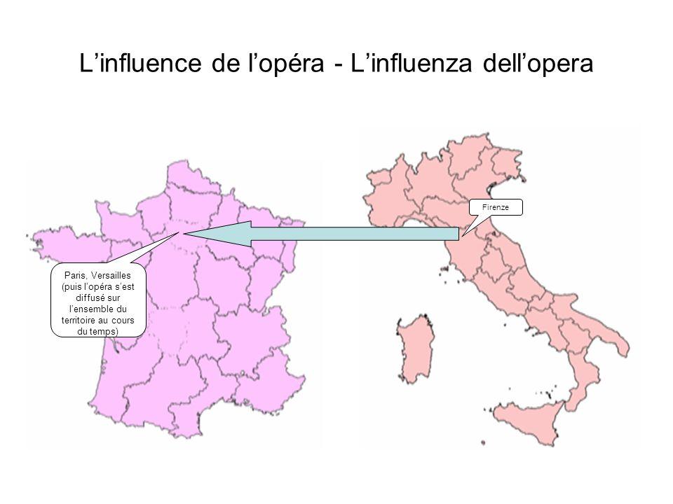 Linfluence de lopéra - Linfluenza dellopera Firenze Paris, Versailles (puis lopéra sest diffusé sur lensemble du territoire au cours du temps)