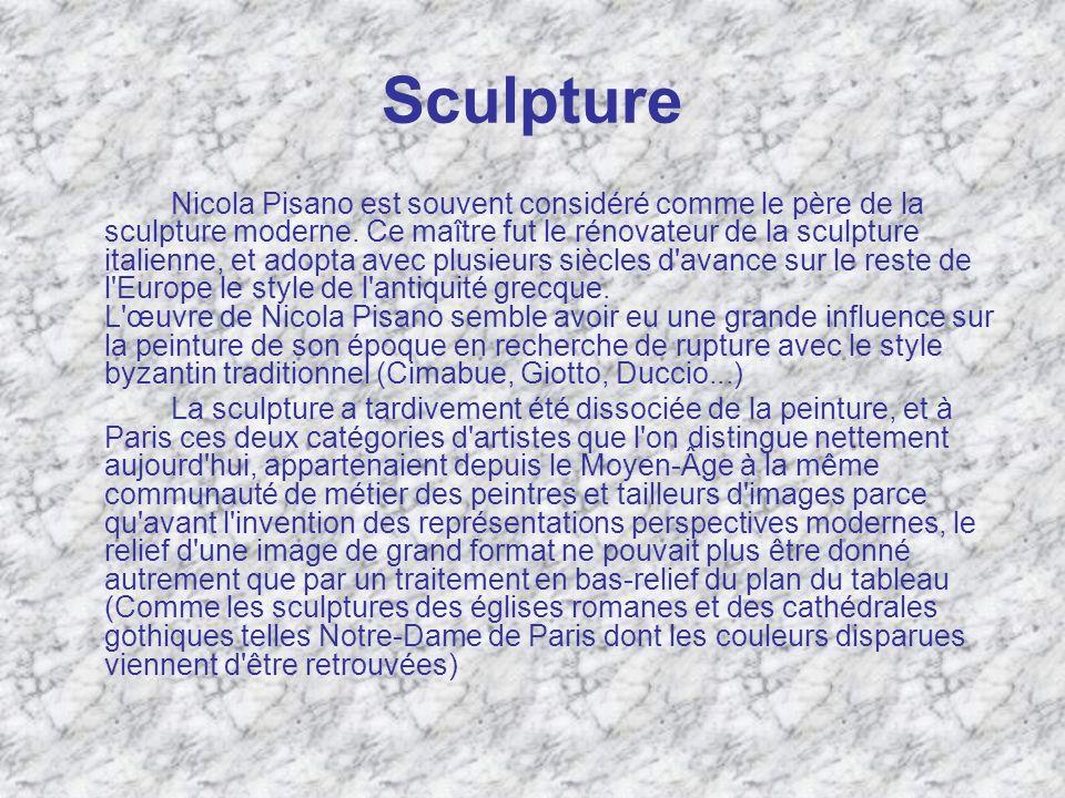 Sculpture Nicola Pisano est souvent considéré comme le père de la sculpture moderne. Ce maître fut le rénovateur de la sculpture italienne, et adopta