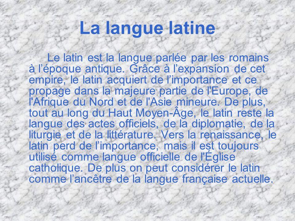 La lingua latina Il latino è la lingua parlata dai Romani nellantichità.