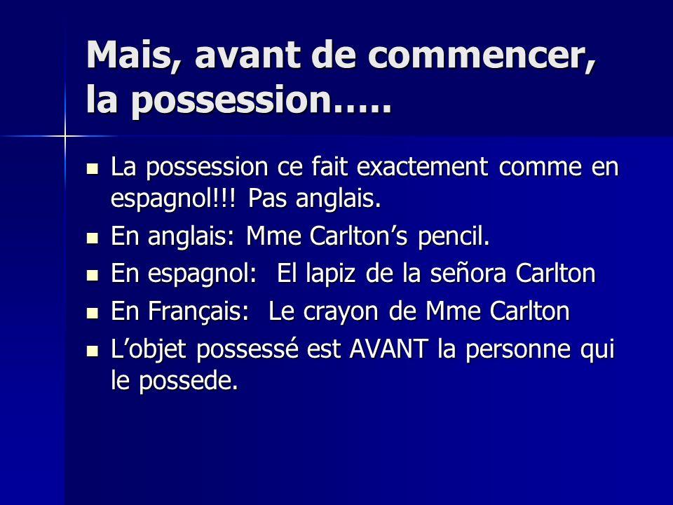 Mais, avant de commencer, la possession…..La possession ce fait exactement comme en espagnol!!.