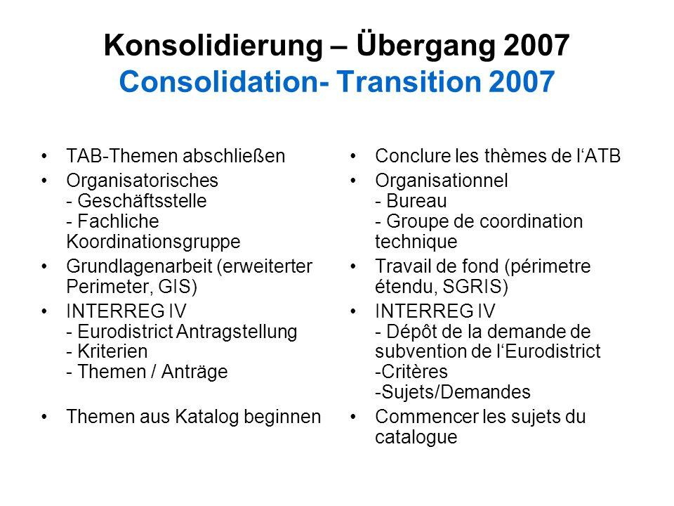 Konsolidierung – Übergang 2007 Consolidation- Transition 2007 TAB-Themen abschließen Organisatorisches - Geschäftsstelle - Fachliche Koordinationsgrup