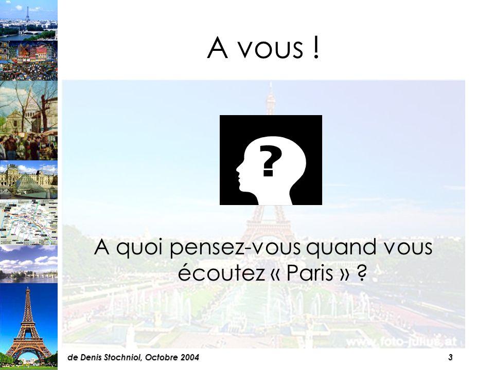 2de Denis Stochniol, Octobre 2004 CHAPITRES I:Les curiosités II:Les transports III:Lhébergement IV:La population V:La culture VI:En supplément: Les Champs- Elysées