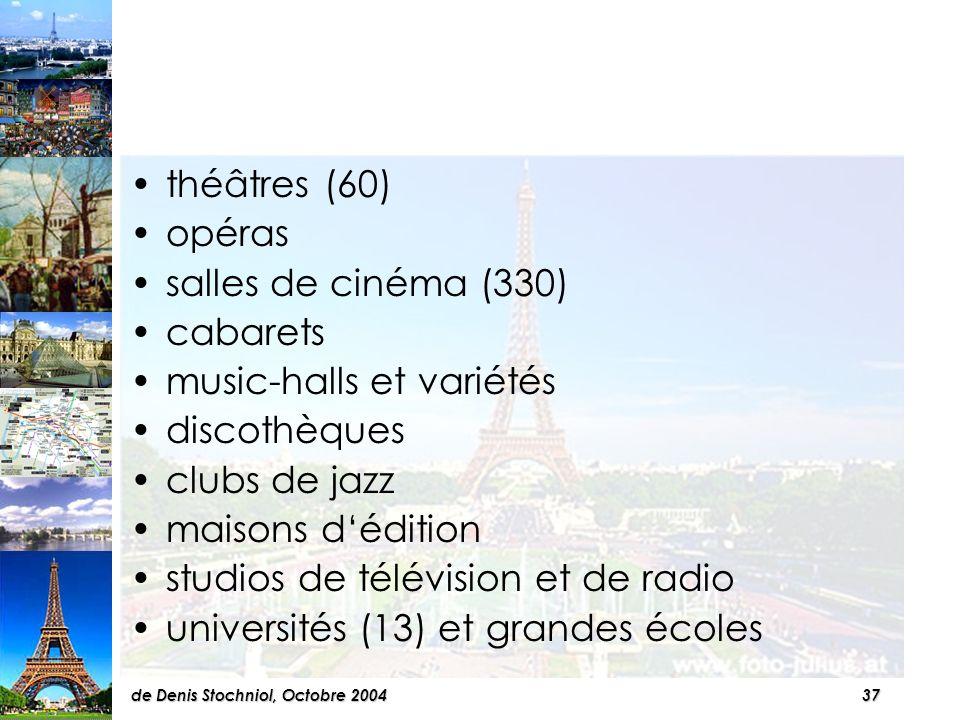 36de Denis Stochniol, Octobre 2004 Paris offre de nombreux lieux de plaisir et salles de spectacles qui attirent chaque jour des dizaines de milliers de Parisiens, de provinciaux et détrangers.