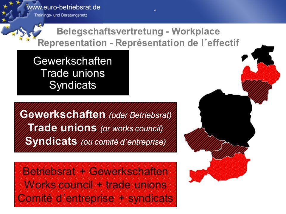 www.euro-betriebsrat.de Betriebsrat + Gewerkschaften Works council + trade unions Comité d´entreprise + syndicats Gewerkschaften Trade unions Syndicats Gewerkschaften (oder Betriebsrat) Trade unions (or works council) Syndicats (ou comité d´entreprise) Belegschaftsvertretung - Workplace Representation - Représentation de l´effectif