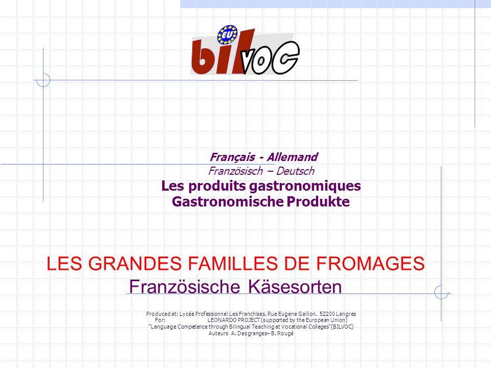 Français - Allemand Französisch – Deutsch Les produits gastronomiques Gastronomische Produkte LES GRANDES FAMILLES DE FROMAGES Französische Käsesorten