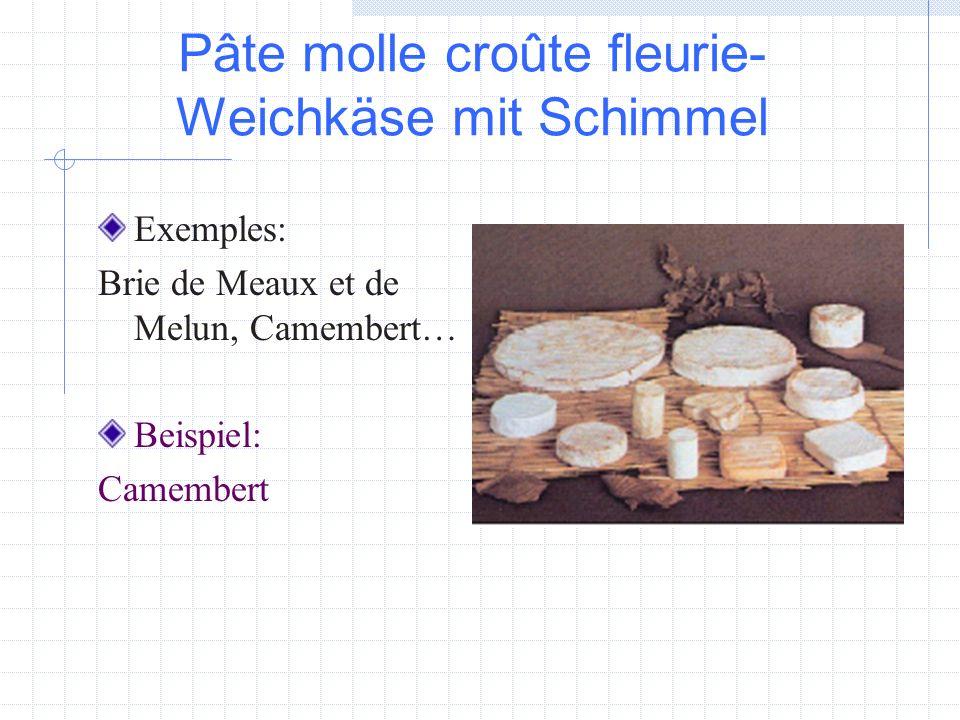 Pâte molle croûte fleurie- Weichkäse mit Schimmel Exemples: Brie de Meaux et de Melun, Camembert… Beispiel: Camembert