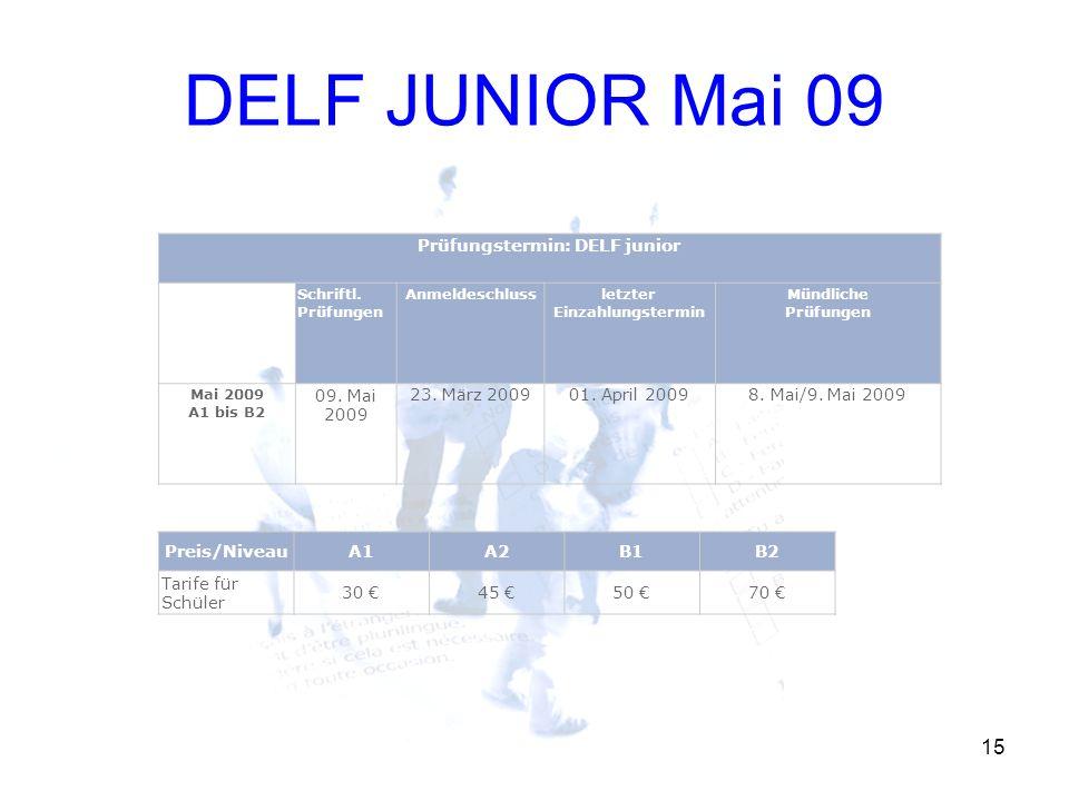DELF JUNIOR Mai 09 15 Prüfungstermin: DELF junior Schriftl. Prüfungen Anmeldeschlussletzter Einzahlungstermin Mündliche Prüfungen Mai 2009 A1 bis B2 0
