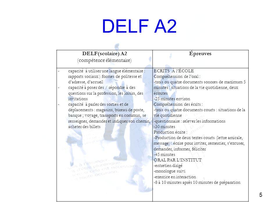 DELF A2 5 DELF(scolaire) A2 (compétence élémentaire) Épreuves - capacité à utiliser une langue élémentaire : rapports sociaux ) formes de politesse et