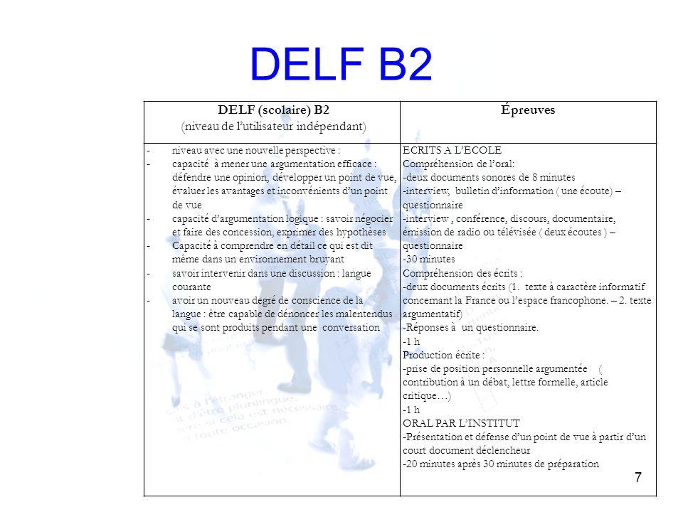 DELF B2 7 DELF (scolaire) B2 (niveau de lutilisateur indépendant) Épreuves - niveau avec une nouvelle perspective : - capacité à mener une argumentati