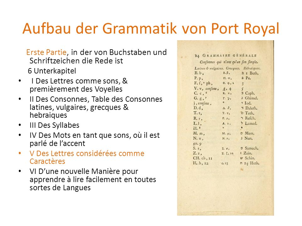 Aufbau der Grammatik von Port Royal Erste Partie, in der von Buchstaben und Schriftzeichen die Rede ist 6 Unterkapitel I Des Lettres comme sons, & pre