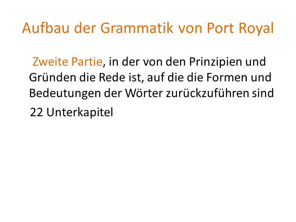 Aufbau der Grammatik von Port Royal Zweite Partie, in der von den Prinzipien und Gründen die Rede ist, auf die die Formen und Bedeutungen der Wörter z