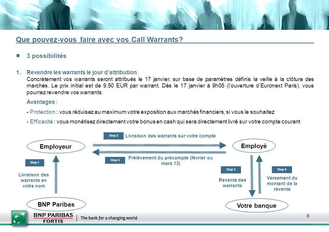 6 Que pouvez-vous faire avec vos Call Warrants? 3 possibilités 1.Revendre les warrants le jour dattribution. Concrètement vos warrants seront attribué