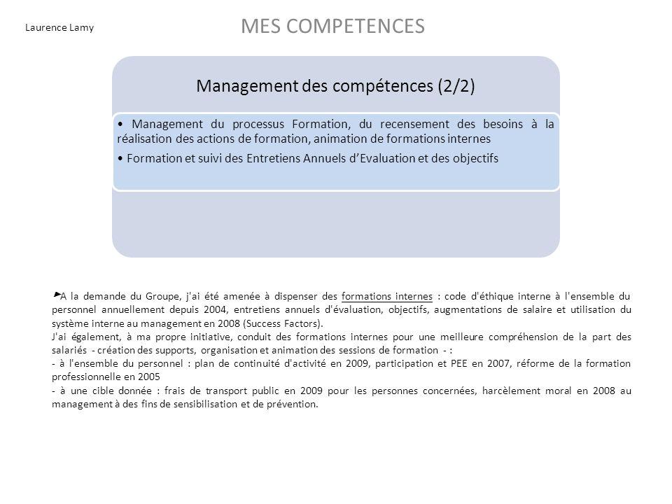 Laurence Lamy MES COMPETENCES Management des compétences (2/2) Management du processus Formation, du recensement des besoins à la réalisation des acti