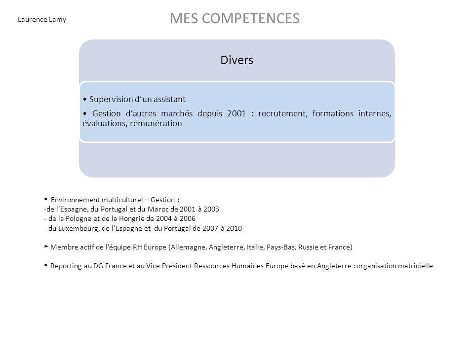 Laurence Lamy MES COMPETENCES Divers Supervision dun assistant Gestion dautres marchés depuis 2001 : recrutement, formations internes, évaluations, ré