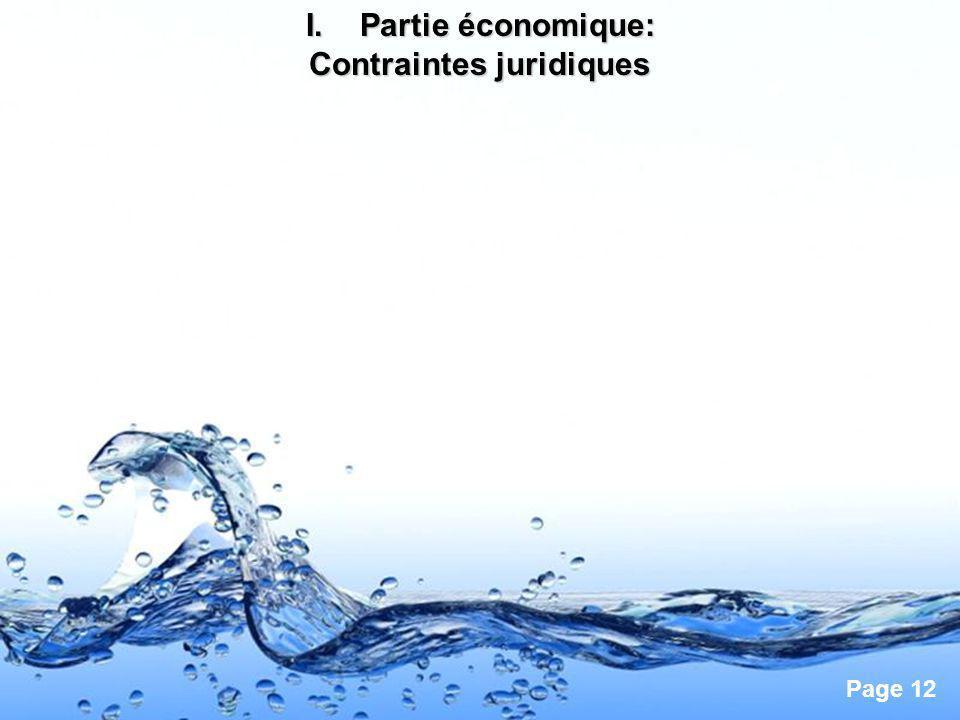 Page 12 I.Partie économique: Contraintes juridiques
