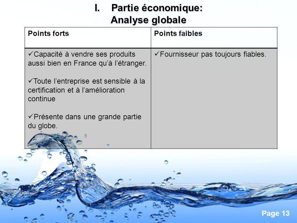 Page 13 I.Partie économique: Analyse globale Points fortsPoints faibles Capacité à vendre ses produits aussi bien en France quà létranger. Toute lentr