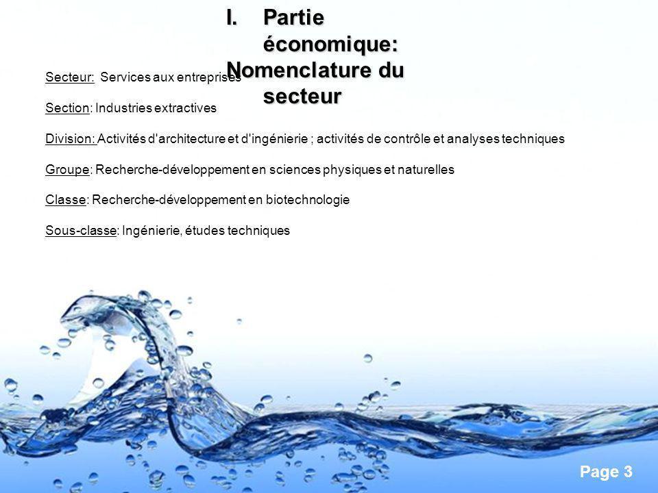 Page 3 I.Partie économique: Nomenclature du secteur Secteur: Services aux entreprises Section: Industries extractives Division: Activités d'architectu