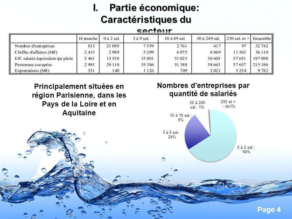 Page 4 I.Partie économique: Caractéristiques du secteur Principalement situées en région Parisienne, dans les Pays de la Loire et en Aquitaine