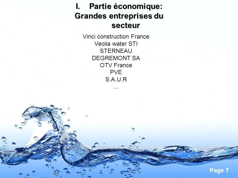 Page 7 I.Partie économique: Grandes entreprises du secteur Vinci construction France Veolia water STI STERNEAU DEGREMONT SA OTV France PVE S.A.U.R …