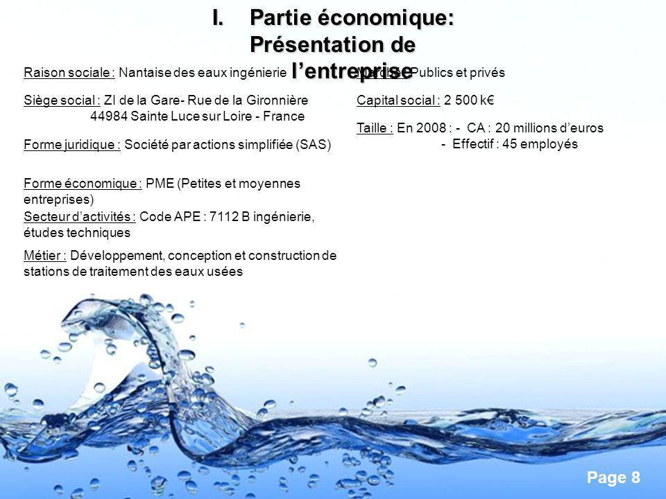 Page 8 I.Partie économique: Présentation de lentreprise Raison sociale : Nantaise des eaux ingénierie Siège social : ZI de la Gare- Rue de la Gironniè