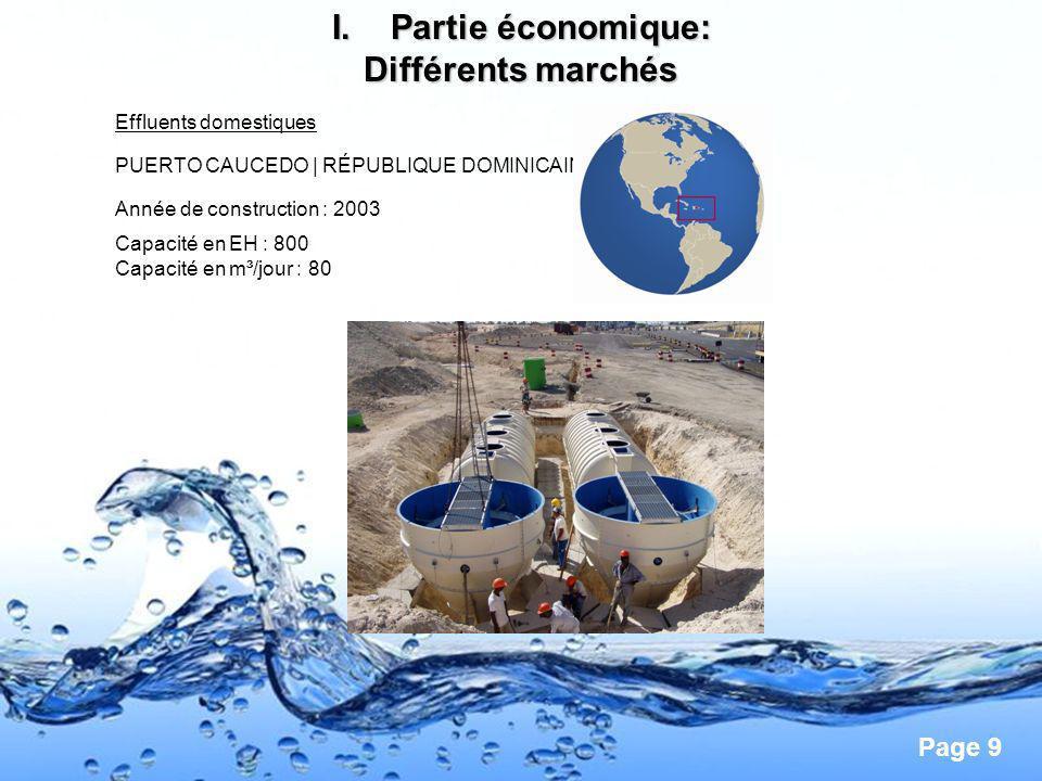 Page 9 I.Partie économique: Différents marchés Effluents domestiques PUERTO CAUCEDO | RÉPUBLIQUE DOMINICAINE Année de construction : 2003 Capacité en