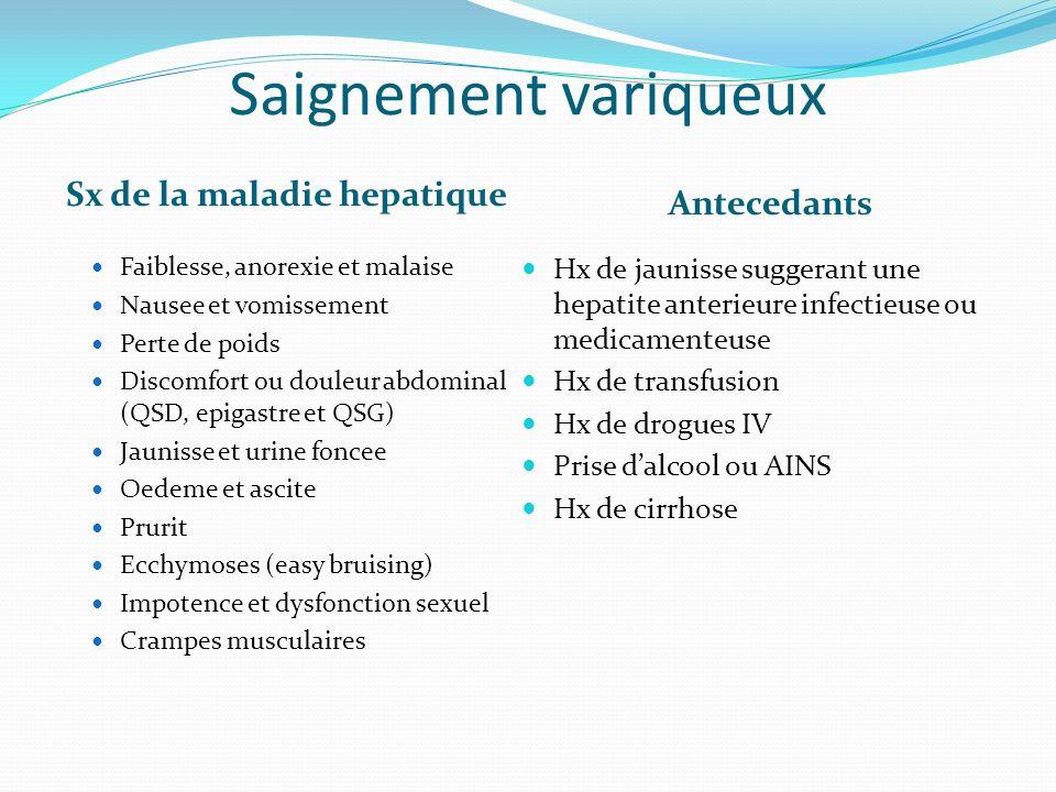 Saignement variqueux Sx de la maladie hepatique Antecedants Faiblesse, anorexie et malaise Nausee et vomissement Perte de poids Discomfort ou douleur