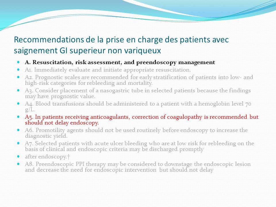 Recommendations de la prise en charge des patients avec saignement GI superieur non variqueux A. Resuscitation, risk assessment, and preendoscopy mana