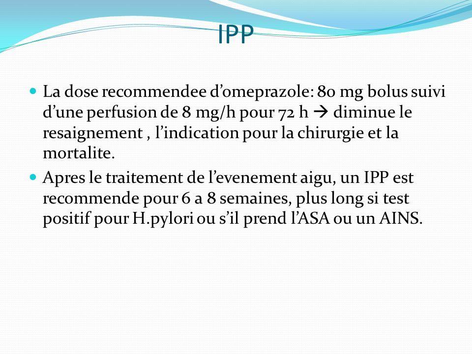 IPP La dose recommendee domeprazole: 80 mg bolus suivi dune perfusion de 8 mg/h pour 72 h diminue le resaignement, lindication pour la chirurgie et la