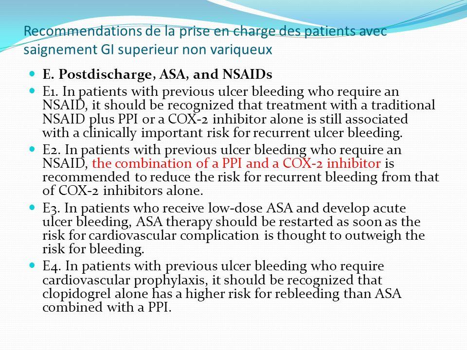 Recommendations de la prise en charge des patients avec saignement GI superieur non variqueux E. Postdischarge, ASA, and NSAIDs E1. In patients with p