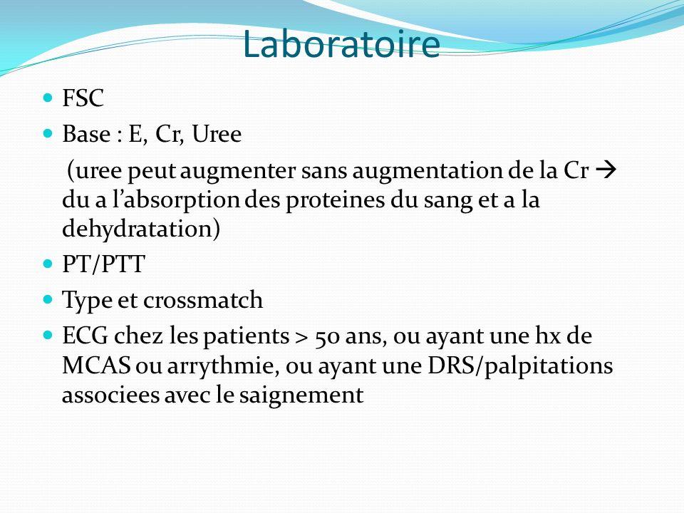 Laboratoire FSC Base : E, Cr, Uree (uree peut augmenter sans augmentation de la Cr du a labsorption des proteines du sang et a la dehydratation) PT/PT
