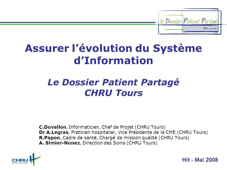 HIT 2008 - Diapositive 1 Assurer lévolution du Système dInformation Le Dossier Patient Partagé CHRU Tours C.Duvallon, Informaticien, Chef de Projet (C