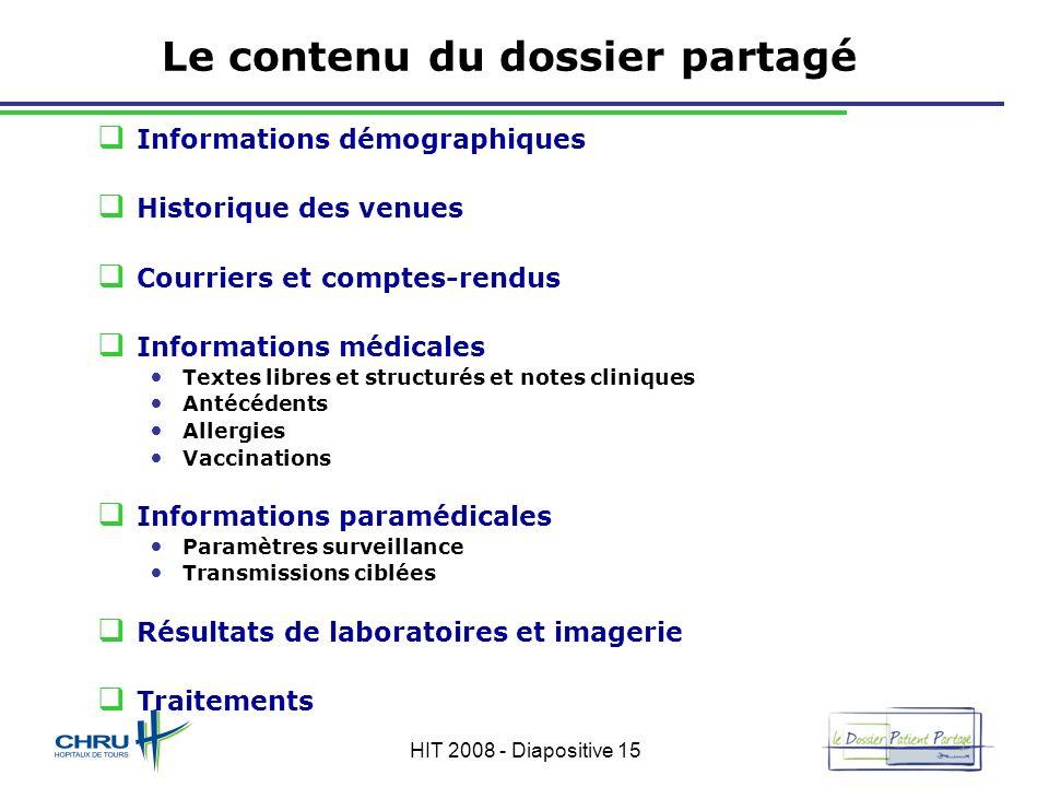 HIT 2008 - Diapositive 15 Le contenu du dossier partagé Informations démographiques Historique des venues Courriers et comptes-rendus Informations méd