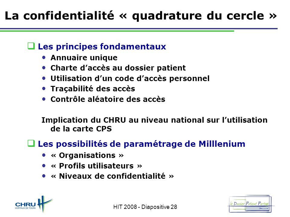 HIT 2008 - Diapositive 28 La confidentialité « quadrature du cercle » Les principes fondamentaux Annuaire unique Charte daccès au dossier patient Util
