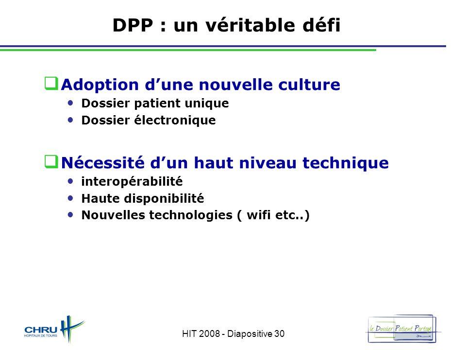 HIT 2008 - Diapositive 30 DPP : un véritable défi Adoption dune nouvelle culture Dossier patient unique Dossier électronique Nécessité dun haut niveau