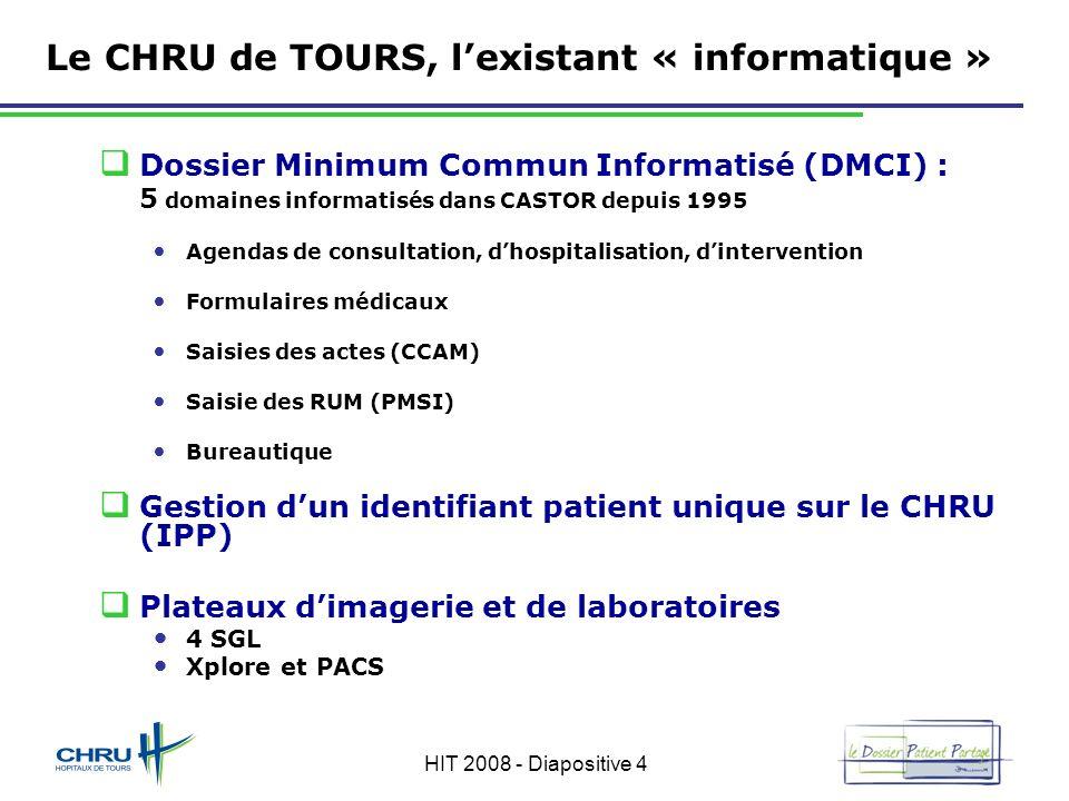 HIT 2008 - Diapositive 4 Le CHRU de TOURS, lexistant « informatique » Dossier Minimum Commun Informatisé (DMCI) : 5 domaines informatisés dans CASTOR
