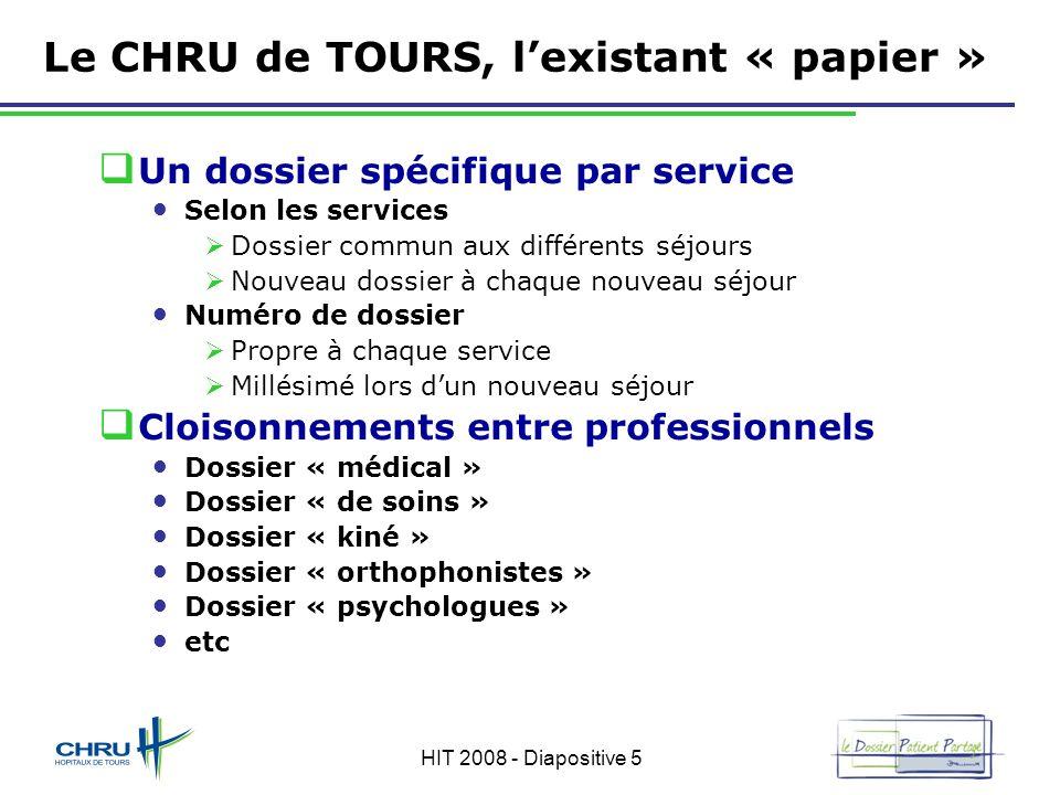 HIT 2008 - Diapositive 5 Le CHRU de TOURS, lexistant « papier » Un dossier spécifique par service Selon les services Dossier commun aux différents séj