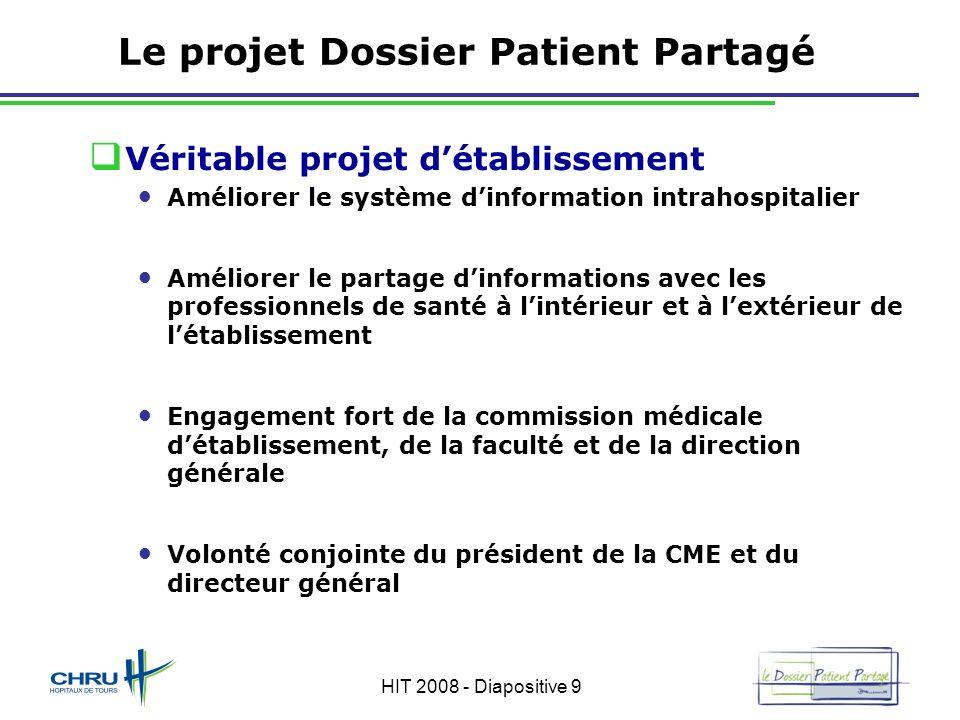 HIT 2008 - Diapositive 9 Le projet Dossier Patient Partagé Véritable projet détablissement Améliorer le système dinformation intrahospitalier Améliore