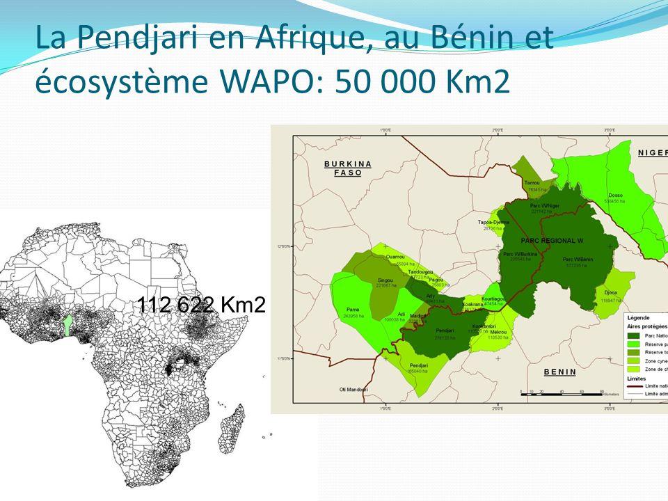 La Pendjari en Afrique, au Bénin et écosystème WAPO: 50 000 Km2 112 622 Km2