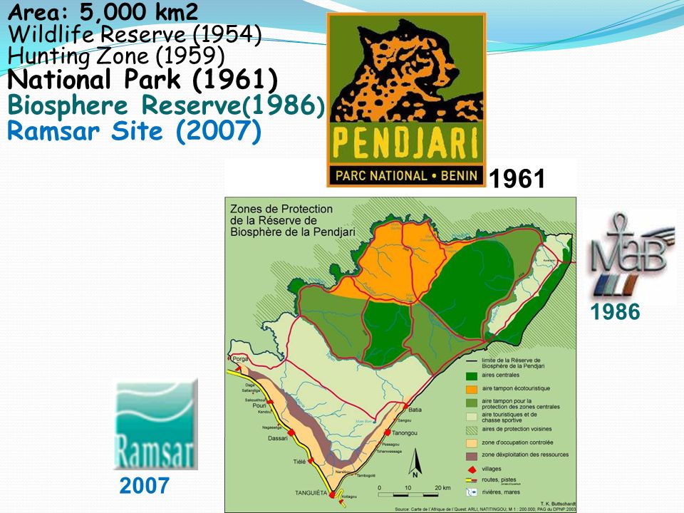 Area: 5,000 km2 Wildlife Reserve (1954) Hunting Zone (1959) National Park (1961) Biosphere Reserve ( 1986 ) Ramsar Site (2007) 1986 2007 1961