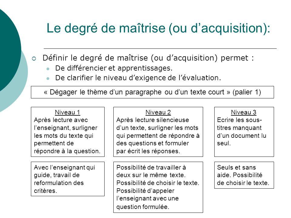 Le degré de maîtrise (ou dacquisition): Définir le degré de maîtrise (ou dacquisition) permet : De différencier et apprentissages. De clarifier le niv