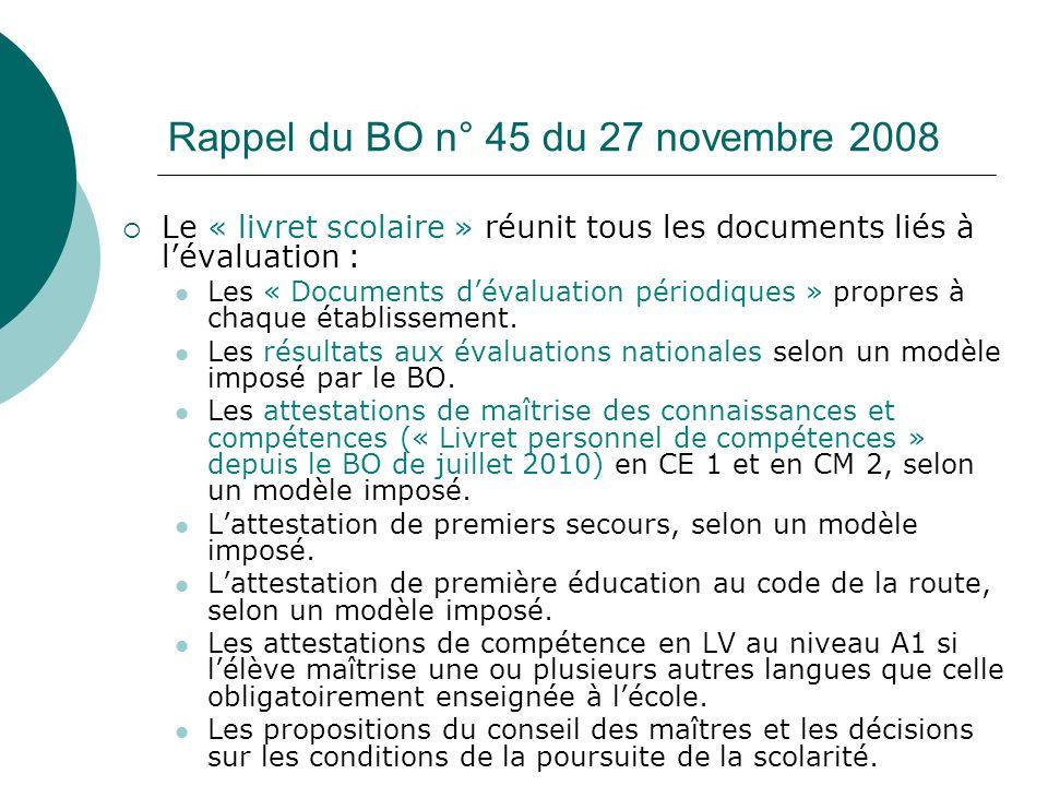 Rappel du BO n° 45 du 27 novembre 2008 Le « livret scolaire » réunit tous les documents liés à lévaluation : Les « Documents dévaluation périodiques »