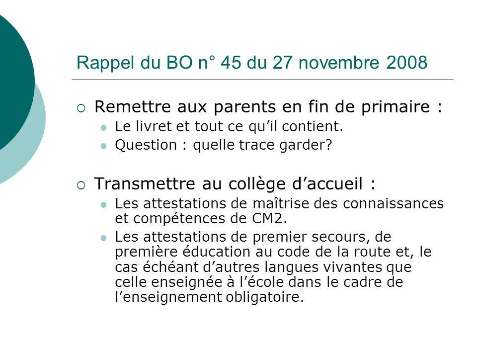 Rappel du BO n° 45 du 27 novembre 2008 Remettre aux parents en fin de primaire : Le livret et tout ce quil contient. Question : quelle trace garder? T