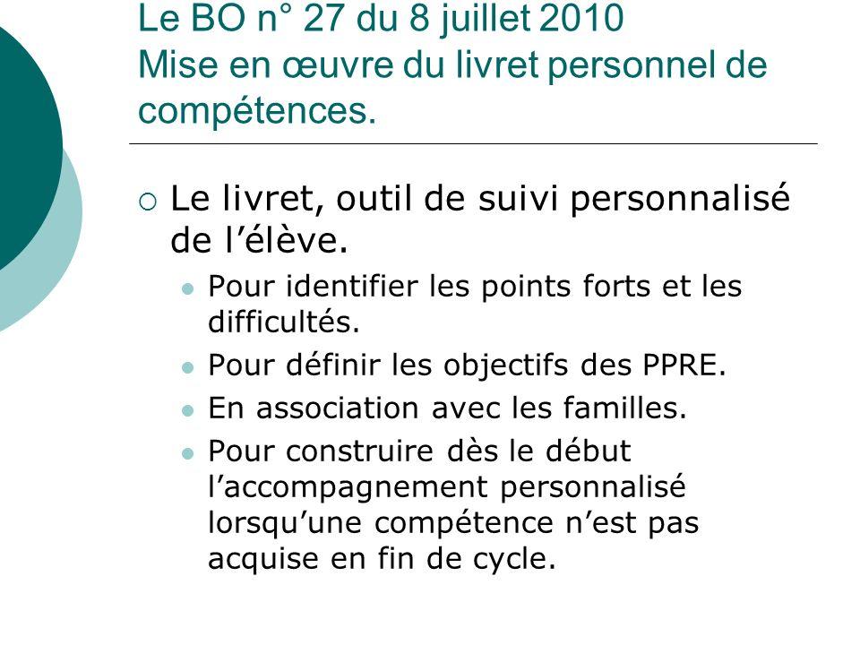 Le BO n° 27 du 8 juillet 2010 Mise en œuvre du livret personnel de compétences. Le livret, outil de suivi personnalisé de lélève. Pour identifier les
