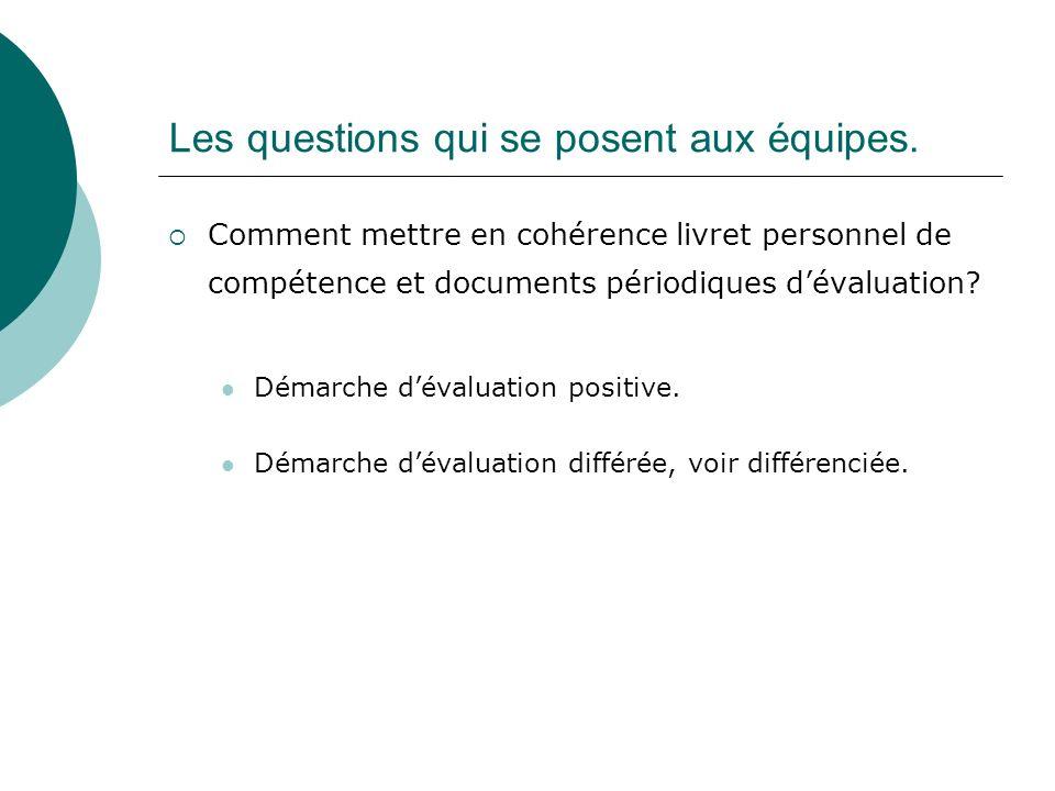 Les questions qui se posent aux équipes. Comment mettre en cohérence livret personnel de compétence et documents périodiques dévaluation? Démarche dév