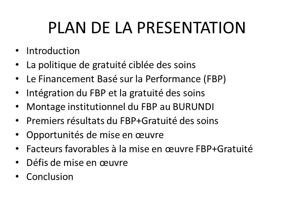 PLAN DE LA PRESENTATION Introduction La politique de gratuité ciblée des soins Le Financement Basé sur la Performance (FBP) Intégration du FBP et la g