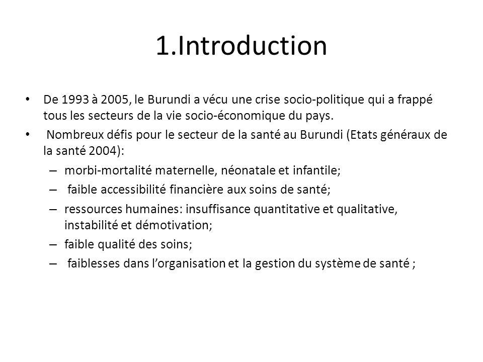 1.Introduction De 1993 à 2005, le Burundi a vécu une crise socio-politique qui a frappé tous les secteurs de la vie socio-économique du pays. Nombreux